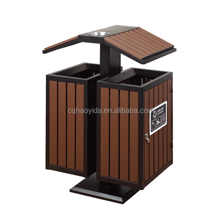 Outdoor metal and wood trash disposal can