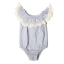 Howell summer solid gray sleeve less cotton baby girl romper with white lace trim