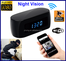 1080P H.264 hd wifi spy hidden alarm Clock Camera, wifi table clock camera dvr with Night Vision Motion detect