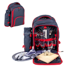 Custom Camping Bag 4 persons Picnic Backpack with Tableware and Wine Bottle Holder