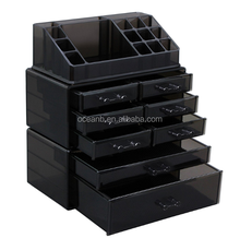 Makeup Organizer 8 Drawers Cosmetic Storage 3 Pieces Set Jewelry Display Case