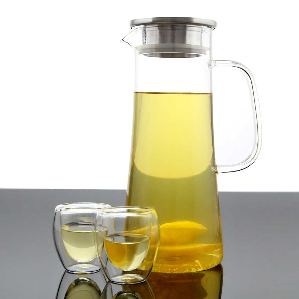 Heat resistance stainless steel filter glass water jug with side handle