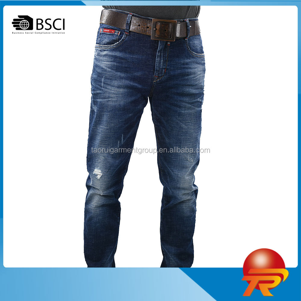 2017 China wholesale cotton spandex men's casual regular fit mid rise stretchy jeans with holes