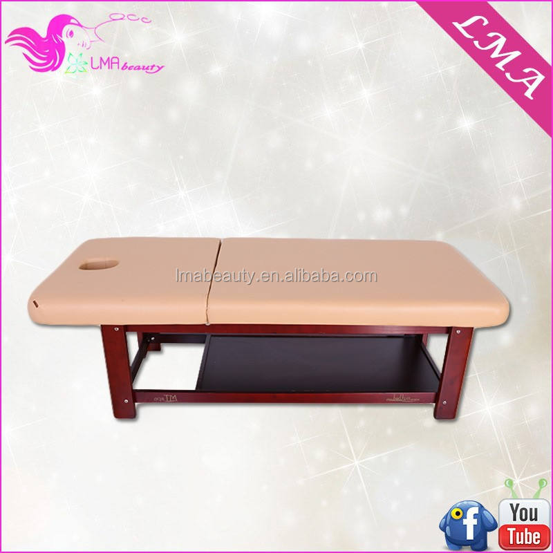 LMA professional wood cosmetic table pine wood mature massage table for beauty salon spa furniture