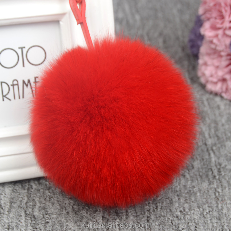 genuine fur pendant Real Fox Fur Ball Cute bag Accessories Plush Keychain Car Key Chain for Bag Pendant