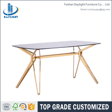 2017 China factory new oval rose gold glass dining table designs