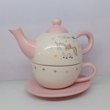 Fashionable design ceramic combined teapot cup