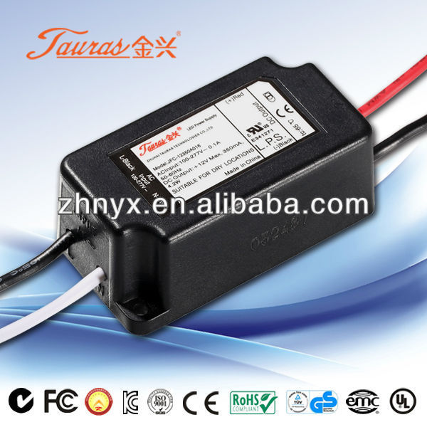 Switching Power Supply 2 to 12Vdc 4.2W Waterproof Power Supply Constant current LED Driver 350ma JAC-12350A016 Tauras