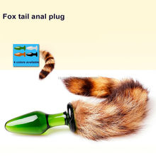 fox tail glass anal plug sex product for woman