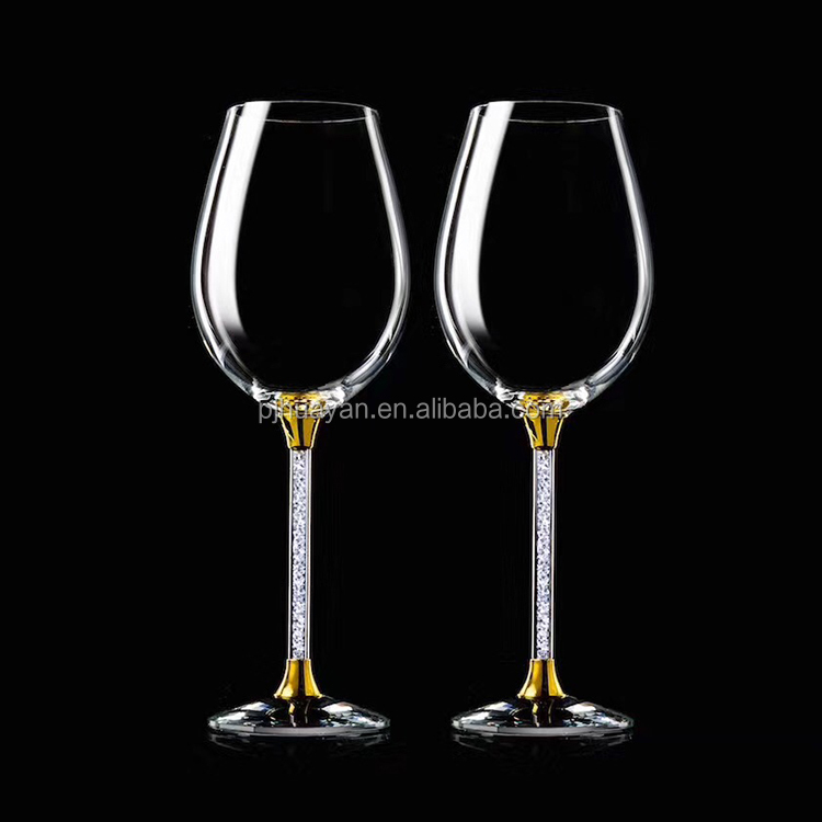 Custom logo giant diamond decorated stem unique goblet glass crystal red wine glasses