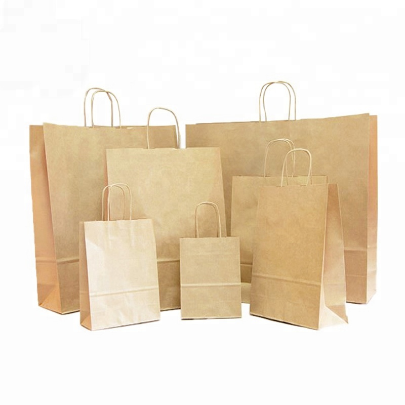 Recycled custom 8&quot;x4.75&quot;<strong>x10</strong>&quot; brown 100gsm twisted paper handle food shopping kraft paper bag