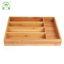 Eco-friendly bamboo kitchen cutlery tray for utensils flatware