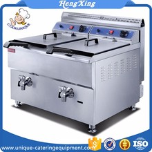 Commercial Kitchen 2 Tanks Stainless Steel Gas Deep Fryer Commercial Deep Fryers