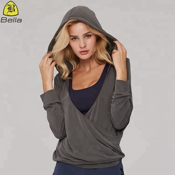 European oversize fashionable v-neck custom yoga top women blank hoodies
