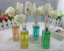 60ml Shining aluminum plastic lid Glass bottle reed diffuser with wooden balls and sola flower