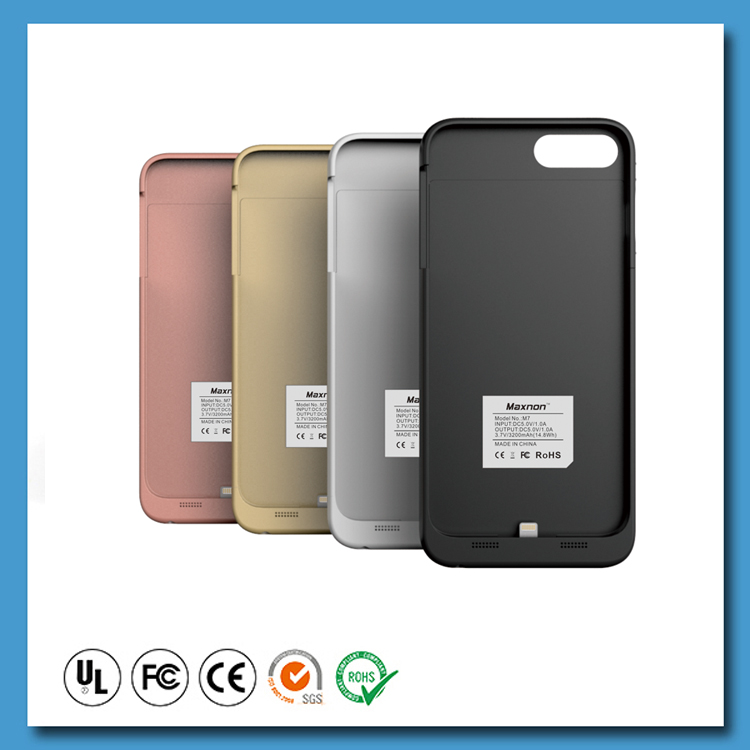Latest product MFI Power bank 3200mAh battery case cover for iphone 7