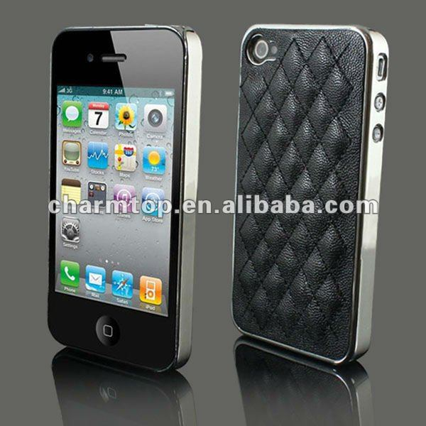 For iPhone 4 Deluxe Leather Chrome Mobile Phone Case