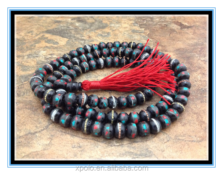 2016 Hot sale Tibetan Dark Yak Bone 108 Beads Necklace Inlay Turquoise and Coral Yoga bracelet