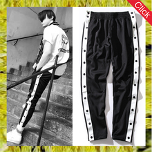 Wholesale mens sports gym active wear striped fitted joggers track running sweat pants