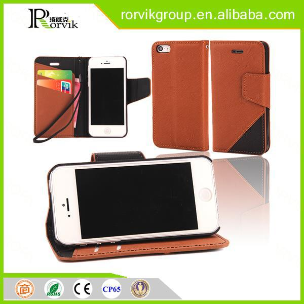 High Quality Flip Phone Protective Case Cross Pattern Cover Wallet Case for iphone 5 5S SE with Card Slot
