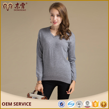 2017 Custom Long Sleeves Cashmere Hand Knit Sweater Design For Women