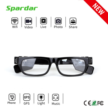 Wireless Live Stream HD Long Distance Hideen Camera Glasses with MP3 function