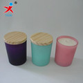 color paint glass candle jar with wooden lid