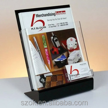 High transparent acrylic poster brochure holder display with card hot sale