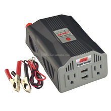 400W Power Inverter DC 12V to 110V AC Car Inverter with 2 AC Outlets & 2 USB Charging Ports, Auto Inverter Converter
