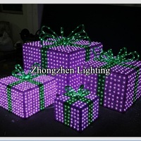 hot sale led pre lighted set of 3 acrylic christmas gift box