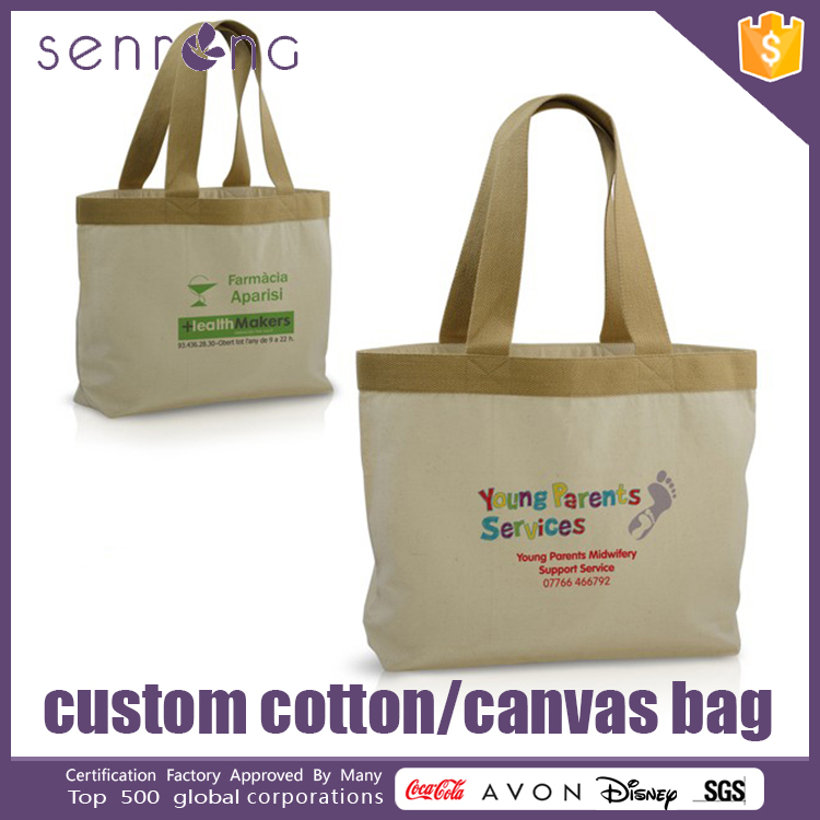 Foldable Cotton Shopping Bag Canvas Tote Bags With Zipper Closure
