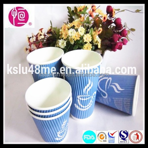 Custom Design Disposable Paper Ripple Wrap Hot Cups
