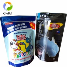 custom printed plastic treats dog food packaging zipper bag/Stand up pet food zipper pouch with hole