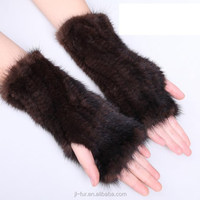 2015 Wholesale Leather Gloves Knitted Genuine