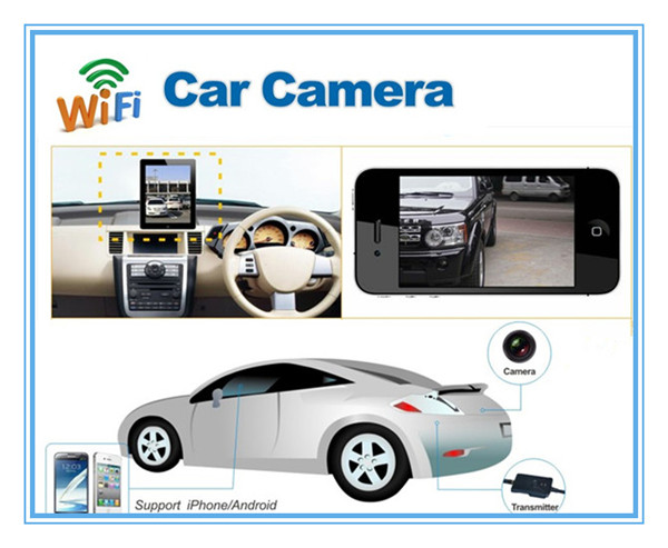 Waterproof WiFi Transmitter 30fps Wireless front view car camera, support iPhone, iPad, Android system