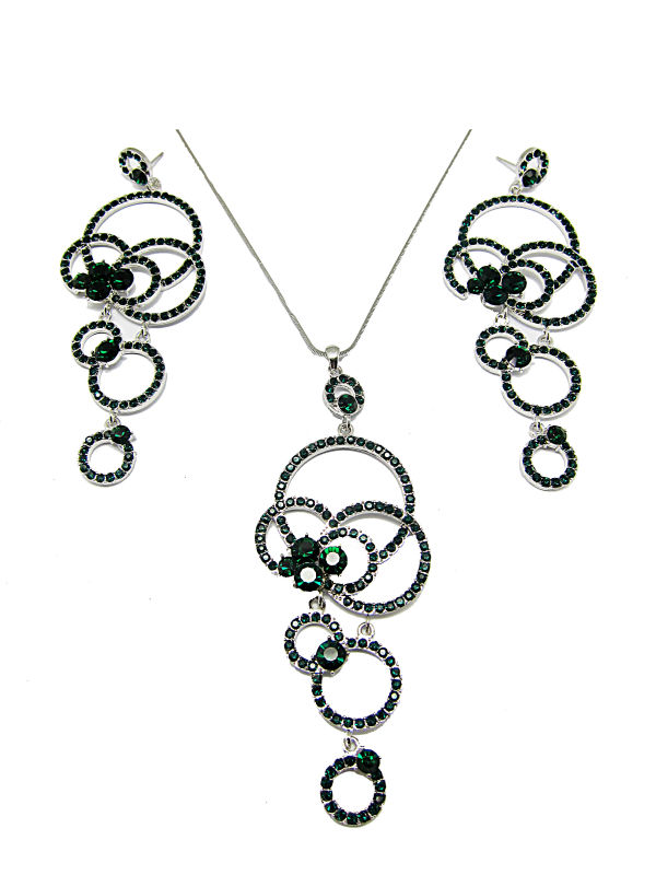 Green Circles long pendant set
