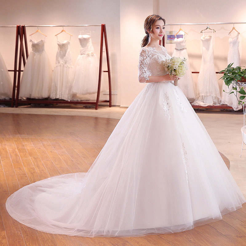 2018 Ball Gown 3/4 Sleeves Elegant Bridal Dresses Lace Flower decorate Princess Royal Train Wedding Gown