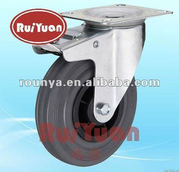 Gray Rubber double brake Standard industrial caster