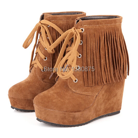 2014 new fashion tassel ankle boots for women shoes autumn suede boots sapatos femininos size 34-39 DX390