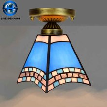 Luxury European style copper ceiling lamp flower mini natural tiffany hanging light