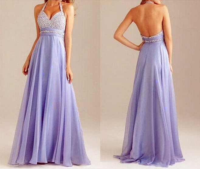HOT SELLING SEXY BACKLESS CHIFFON EVENING MAXI DRESS FOR WOMEN HALTER DRESS