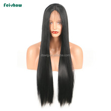 High Quality cheap long straight black hair lace front wigs synthetic middle part for wholesale