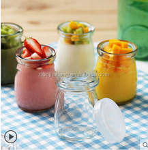 Food grade 100ml 150ml 200ml 300ml pudding glass jar with plastic lids Yogurt container with cork logo printing