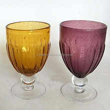 Stock Hand Blown Bubble Glass Short Ball Stem Purple Beer Goblets Amber Water Goblets