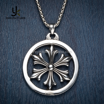 Antique Styles Gothic Unisex Stainless Steel Six Stars Shaped Fleur De Lis Necklace Jewelry