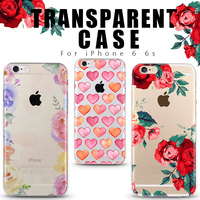 Fashion Gift Red Rose Love Flower Phone Case Soft TPU Mobile Phone Case for Apple iphone 6 Case 4.7'' 6s Transparent back cover