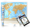 Scratchable World Travel Map 33x24 Inches Gold Top Glossy Bottom Country Flags Great Gift and Creative Wall Decoration
