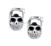SSE081213 2015 Punk Styles Unisex Stainless Steel Big Fashion Skull Earrings for Unisex Party Jewelry