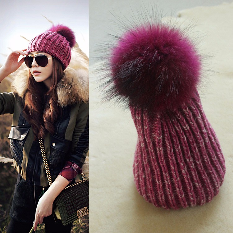 Purple Red Wholesale Knit Hat Girls Crochet Winter Knitted Beanie With Top Fur pom pom