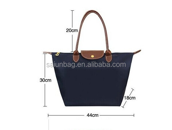 Yiwu Factory wholesale 600D <strong>nylon</strong> foldable tote bag with leather handle
